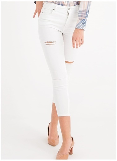 Mustang Mustang Kadın Beyaz Yırtmaç Detaylı Denim Pantolon Beyaz